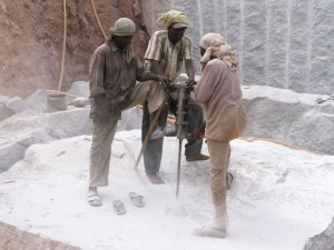 Quarry workers in India